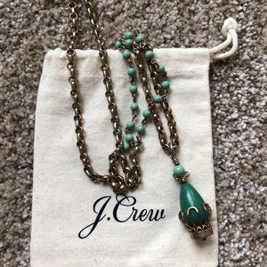 J.Crew gold necklace with green charm and beading
